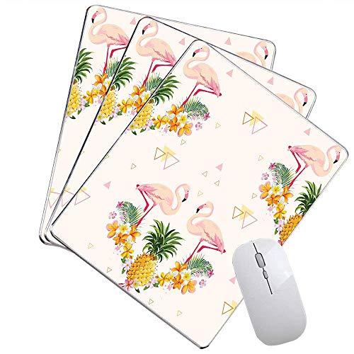 Flamingo-Büro-Mausunterlage Geometrische Ananas-und Flamingo-Tropische Su er Frucht-Pool-Partei besonders angefertigt Mausunterlage Orange grünes Hellrosa,Gummimatte 11,8