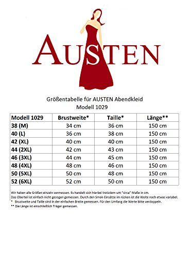 Austen 1029–robe de soirée à dos-orange - 1 pièce-taille 38–46 bordeaux (longueur :  env. 150 cm rouge bordeaux
