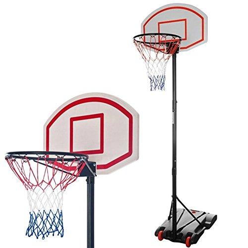 BAKAJI Canestro da Basket da Esterno con Base e Tabellone Altezza Regolabile in Acciaio 73 x 49 x 190-250 cm, Sport Pallacanestro Portatile con ruote