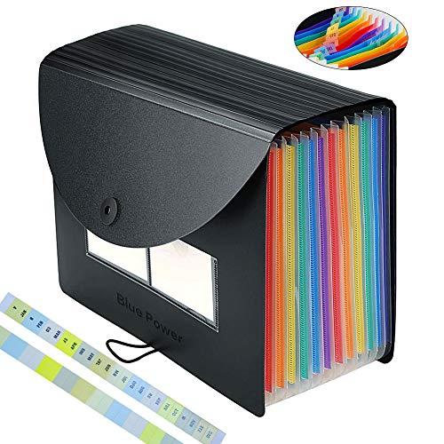 Expanding File Organizer, BluePower 12 Taschen A4 Multicolor Portable Akkordeon Aktenkoffer Aktenordner, A4 Brief Expander Aktenordner Aktenmappen Ordner, Schreibtisch Aufbewahrungsbox mit Deckel (Akkordeon Ordner, Brief)