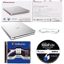Pioneer 6x bdr-xs06grabadora de Blu-ray externo portátil paquete con 1unidades 100GB Verbatim BD-R M-DISC y Roxio Toast Lite Software–Soporta BDXL discos de papel de lija (plata, caja)