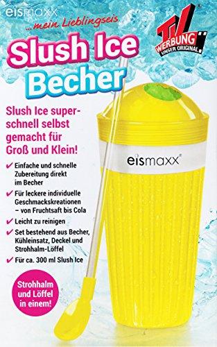 SLUSH ICE BECHER mit Strohalm-Löffel Deckel 300ml Frozen Eis Freeze Eiscrusher 4 Farben 97 (Gelb)