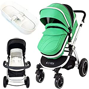 """iSafe Baby Pram System 2in1 - Leaf + iSafe Luxury Bedding (Cream) Mountain Buggy Ultra compact size at just 54cm/22"""" wide and with a compact fold down size of 54cm/22"""" (w) x 30cm/12"""" (d) x 51.5cm/20"""" (h): nano fits inside its own custom made satchel and is now: even more airline ready. Ultra Leight weighing in at 5.9kg / 13lbs: nano meets the standard weight restriction for carry on luggage on planes Full Lie Flat Solution for newborn - adaptability with the use of the soft shell cocoon carrycot (an additional accessory) 5"""