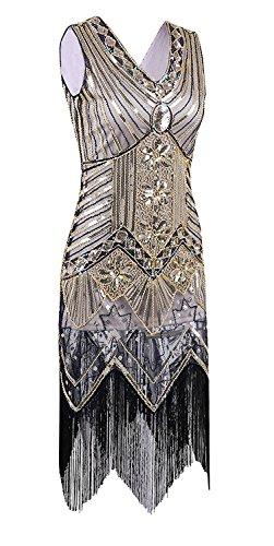 e 1950er Jahre Vintage Gatsby Perle Sequin Kunst Nouveau Deko Flapper Kleid (Gatsby Themed Kleid)
