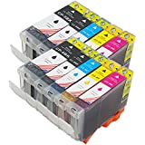 10 PKS Toner Kingdom PGI-5 / CLI-8 - 10 Item Multipack Compatible Ink Cartridges for Canon Pixma iP4200 iP4300 iP4500 iP5100 iP5200 iP5200R iP5300 MP500 MP530 MP600 MP600R MP610 MP800 MP800R MP810 MP830 MP950 MP960 MP970 9000 MX850 - CLI8/PGI5 (Contains: any combination of CLI-8C, CLI-8Y, CLI-8M, CLI8BK, PGI-5BK) - Latest Chip Installed