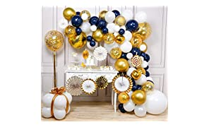 PartyWoo Navy and Gold Balloon Garland Kit, 114 pcs of 8 Paper Fans, Gold Tassel, Jumbo Confetti Balloons, Gold 4D Balloons, Jumbo White Balloons, White Gold Navy Blue Balloons for Navy Gold Party