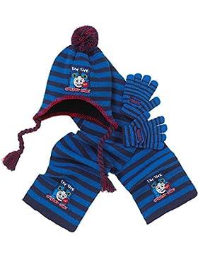 WW Group Ltd - Set de bufanda, gorro y guantes - para niño Azul azul (stripe)