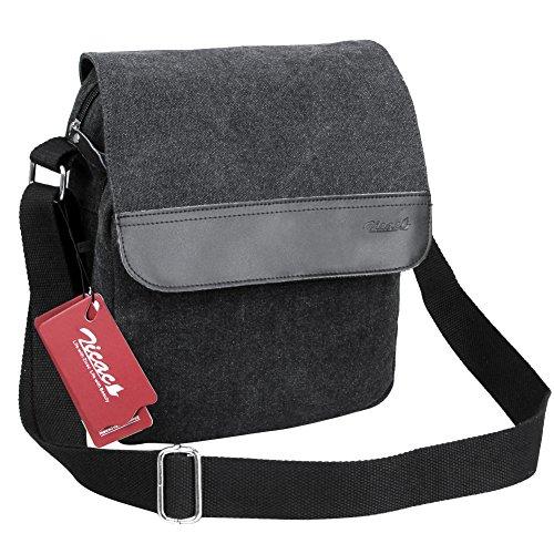 Zicac Herren Schultasche Umhängetasche für Büro Reise Freizeit Canvas+Leder Schultertasche (Schwarz)