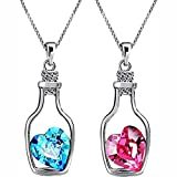 #4: Impression Stylish Rhodium Plated Combo of 2 Solitaire Pink and Blue Crystal Heart Bottle Pendant for Women and Girls- Perfect Gift
