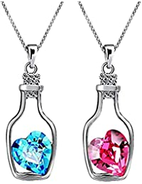 Impression Stylish Rhodium Plated Combo Of 2 Solitaire Pink And Blue Crystal Heart Bottle Pendant For Women And...