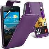 (Lila) Huawei Ascend Y530 Schutzfolie Faux Credit / Debit Card Leder Flip Skin Case Hülle Cover, Aus- und einfahrbarem Touch Screen Stylus Pen & LCD Screen Protector Guard von Spyrox