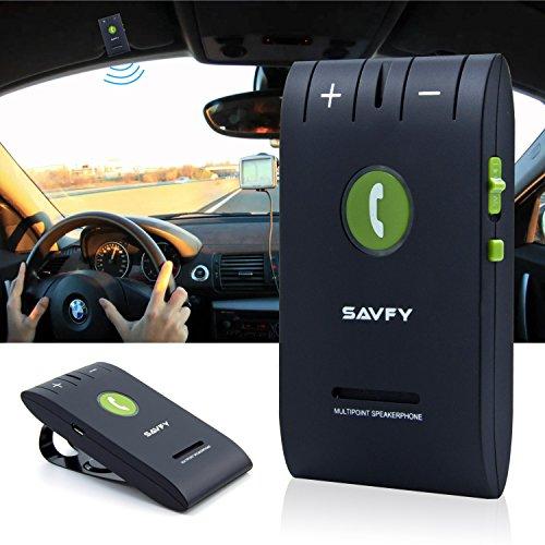 SAVFY Kit Mains Libres Bluetooth 4.0 Voiture pour pare-soleil avec Instruction GPS / Musique, Elimination du Bruit, Instalation sur Pare Soleil, Mobile compatible avec l'iPhone 7/7 plus, l'iPhone...
