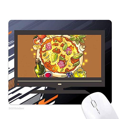 Vegetable Pizza Italy Foods Tea Computer Non-Slip Rubber Mousepad Game Office