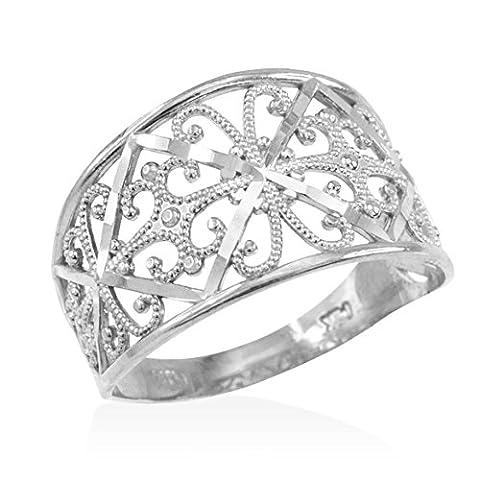 Little Treasures - 10ct White Gold Filigree Ring