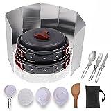 14pcs extérieur Ustensiles de Cuisine Camping Coleman Mallome Mess kit léger Camping Pot Pan bols, gratuit Cuillère-fourchette pliante, Réchaud vents pour