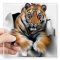 """CafePress Tiger, Artwork Square Sticker 3"""" X Bumper Sticker"""