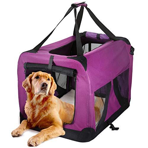 Petcomer Tragbar Hundetransporttasche Faltbare Transportbox für Katze Hunde Hundetragetasche mit Weiche Matte aus Vlies Groß 70 x 52 x 52 cm -
