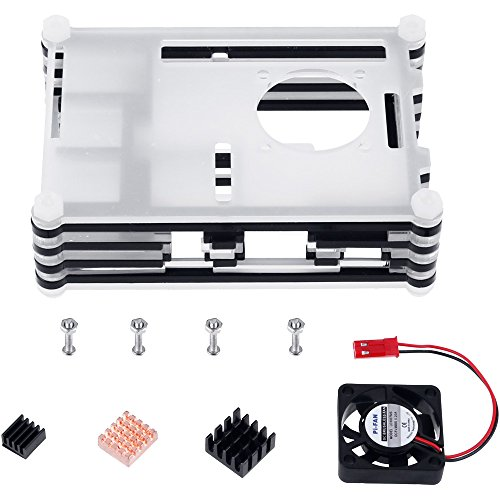 511Z0QaPGUL - Zacro 5-EN-1 Kit para Raspberry Pi 3 y 2, Caja de 9 Capas de Refrigeración + Mini Fan con 4 Tornillos, USB Cable Encendido, 3 Disipador de calor, USB Cable Cargador