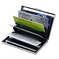 Skyaba 6 Slots Porte-Carte Crédit/visite / Porte monnaie/ Etui credit/Housse Etui Rigide en acier inoxydable - RFID lutte contre Criminel de Scanning