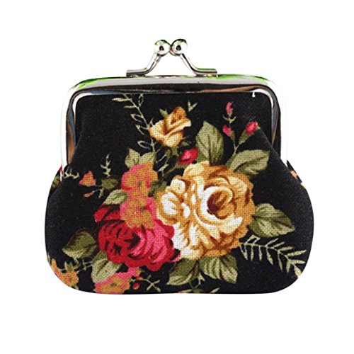 Internet Femmes Vintage Fleur petit porte-monnaie Hasp sac à main pochette 9cmX7cm (Noir)