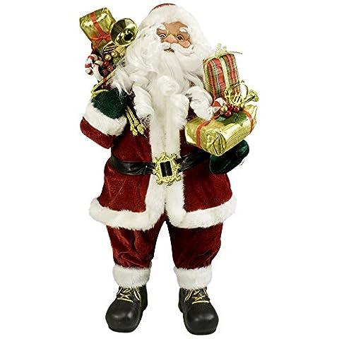JEMIDI Hochwertiger Weihnachtsmann - in 4 verschiedenen Größen - Deko Nikolaus Santa Clause Figur Groß Weihnachts Deko Holz (Viggo,