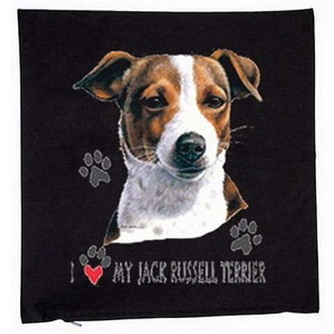 Jack russel terrier chien housse de coussin 40 x 40 cm (noir)