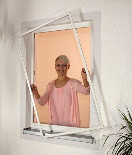 1PLUS Insektenschutz Alu Rahmen System Basis für Fenster in Verschiedenen Größen und Farben (100 x 130 cm, Weiß)