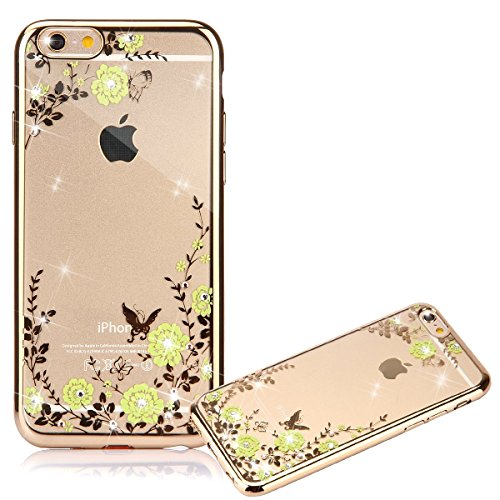 iPhone 7 Plus Hülle, iPhone 7 Plus Case, Felfy iPhone 7 Plus Fashion Luxus Ultra Slim Galvanotechnik Soft Gel TPU Silikon Gel Schmetterling Blumen Gold Muster Glitter Bling Schein Glänzenden Kristall  Tyrant Gold Gelbe Blumen