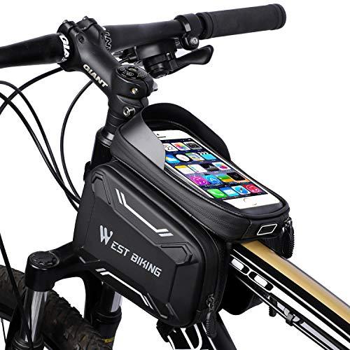 Fahrradtasche, Rahmentasche mit Touchscreen, Abnahmbare Handytasche Geeignet für Smartphones unter 6,2 Zoll Innerhalb mit Kopfhörerloch, geeignet für MTB, wasserdicht, 4 Farbe(Rot, Grün, Blau, Grau)