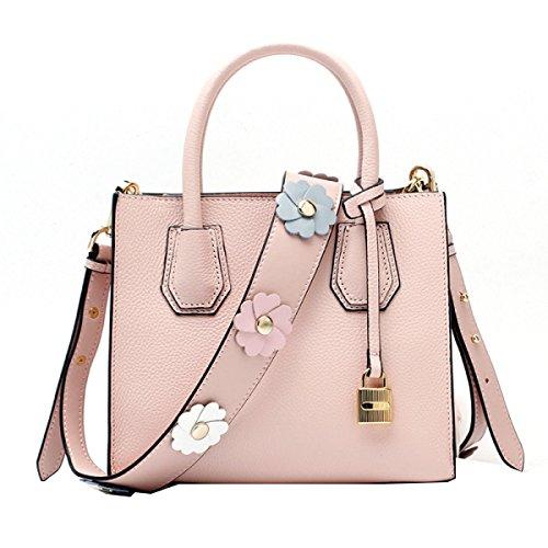 Modo Yy.f Sacchetto Del Fiore Tracolla Pelle Bovina Sacchetto Serratura Tracolla Pacchetto Diagonale Borsa Di Cuoio Multicolore Pink