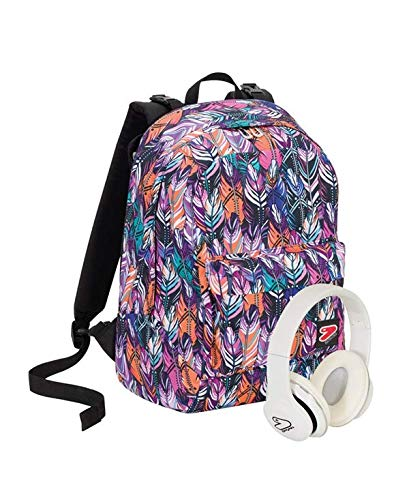 Zaino seven the double - plume - multicolore - cuffie wireless - 2 zaini in 1 reversibile