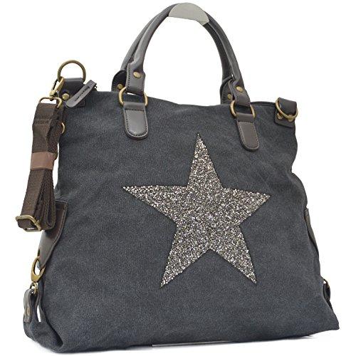 Vain Secrets Sternen Shopper Damen Handtasche mit Schulterriemen Schwarz Strass