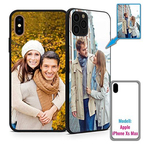 PixiPrints Foto-Handyhülle Kompatibel mit Apple iPhone XS Max selbst gestalten und mit eigenem Bild Bedrucken * Hüllentyp: TPU-Silikon/Schwarz-Matt