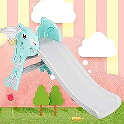 Toboggan d'intérieur pour Enfants, Toboggan en Plastique Pliable avec Escalier Antidérapant et Ballon de Basket pour les Enfants de 2 à 6 Ans