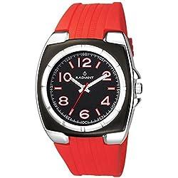 Radiant New ra117602–Reloj de pulsera de hombre, correa de caucho color rojo