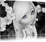 bella bambola in fiori bianchi Arbusto nero / bianco su tela, enorme XXL Immagini completamente incorniciata con barella, incorniciatura sulla foto parete con cornice, più economico di pittura o un dipinto a olio, non un manifesto o un banner