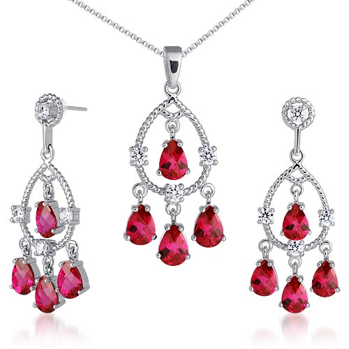 Revoni Celebrity Inspired Pear Checkerboard Shape Created Ruby Pendant Earrings Set in Sterling Silver Rhodium Finish