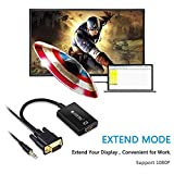eSynic VGA to HDMI Converters 1080P VGA Converter to HDMI PC VGA Male to HDMI Female Video Converter Adapter Cable + 3.5mm Audio with USB Power Cable for HD HDTV TV AV DVD Laptop