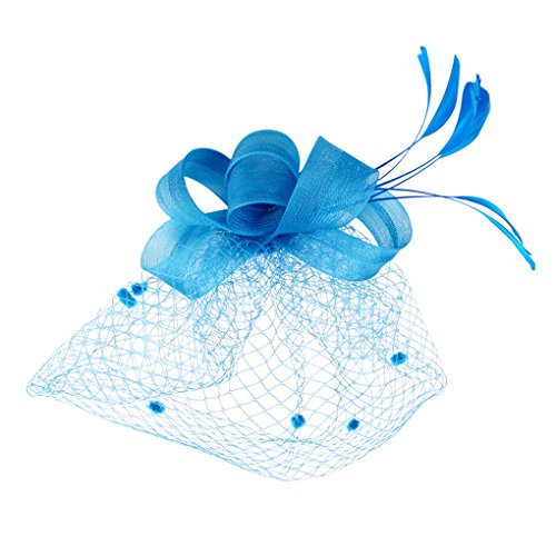 BXT Blumen Fascinator, Braut Patei Kopfschmuck mit Schleier, Garn Braut Haarschmuck, Hochzeit Haar Clip Hut Stirnband, Haarclip Hairpin Haarband für Party Kirche Hochzeit