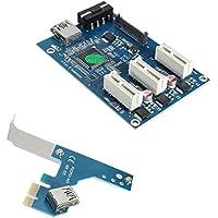 Espeedy Tarjeta PCI,PCI-e Express 1X a 3 Port 1X Switch Multiplier HUB Riser Card + Cable USB