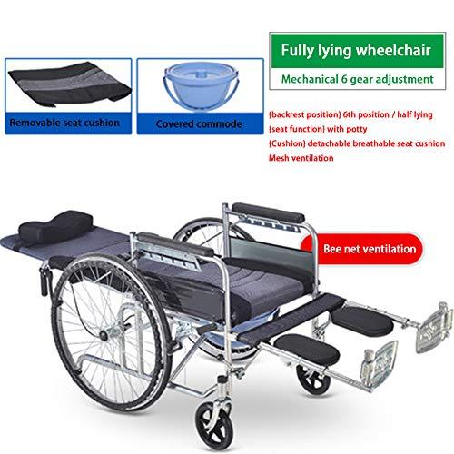 HEIFEN Rollstuhl, faltbares, atmungsaktives Netz-Sitzkissen, mit Toilette, leicht und tragbar, Alter Mann Kleine Multifunktion mit Handbremspedal Abnehmbares Anti-Rückwärts-Design Full Lying
