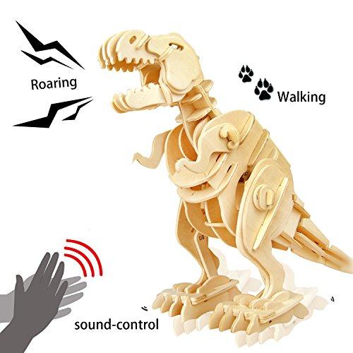 ROBOTIME 3D Puzzle - Dinosaurier Holzspielzeug - Roboter T-Rex - Modellbausätze aus Holz-Geschenk zum Geburtstag Weihnachten für Jungen und Mädchen 6, 7, 8 Jahre und älter