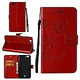 Hülle für Wiko Pulp 4G , Owbb Schmetterling Blumen Muster Handyhülle PU Ledertasche Flip Cover Wallet Case mit Stand Function Innenschlitzen Design Rot(Ein freier Stylus als Geschenk)