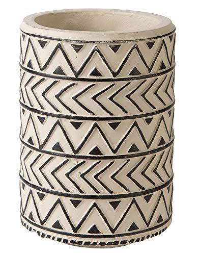 KASA Blumenvase aus Zement, 18CM, Ethno-Muster, Cremeweiß