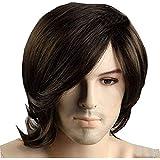 باروكة شعر بني للرجال باروكة شعر قصير بني للفنانين الرجال، باروكة شعر لمظهر طبيعي