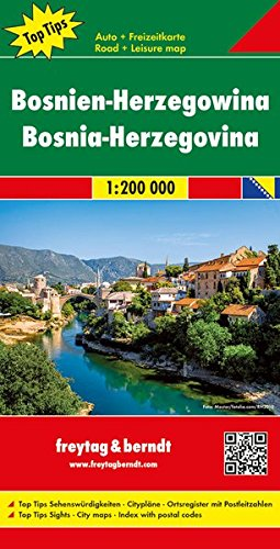 Bosnien-Herzegowina, Autokarte 1:200.000, Top 10 Tips: Toeristische wegenkaart 1:200 000 (freytag & berndt Auto + Freizeitkarten)