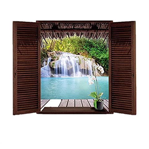 L'Eau en PVC 3D Fenêtre Paysage Paysage Sticker mural amovible pour chambre salon