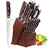 Knife Set, 15-Piece Kitchen Knife Set with Block Wooden, Manual Sharpening for Chef