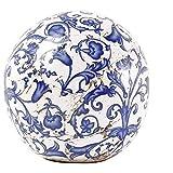 linoows G2068: Rosenkugel, Landhaus Gartenkugel Barockmuster, Keramik Kugel, 12 cm