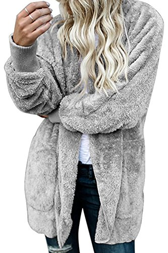 Zilcremo Les Femmes Manteaux et Blousons Cardigan Furry Occasionnels Outercoat Chaud Jacket Sweat-Shirts Tops Grey M